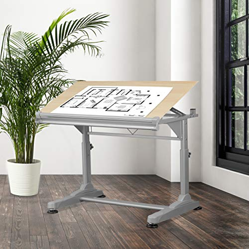 Stand Up Desk Store Height Adjustable Drawing and Drafting Table with 39.2W x 27.5 D Surface, Silver Frame with Birch Top