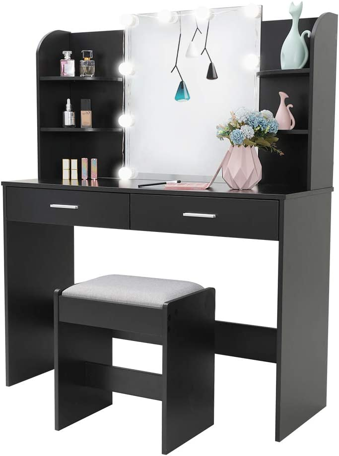 Large Vanity Set with 10 Light Bulbs, Makeup Table with Cushioned Stool, 6 Storage Shelves 2 Drawers, Dressing Table Dresser Desk for Women, Girls, Bedroom, Bathroom, Black