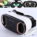"VR Glasses with Remote, TSANGLIGHT 3D VR Virtual Reality Headset[FOV 110°] 3D Movies Games VR Visor for iPhone 8 7 Plus Samsung S7 S6 Edge & Other 4.5-5.5"" Smartphones - Green Lens - Rose Gold"