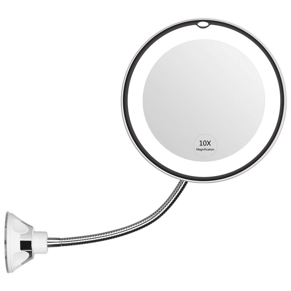 "KEDSUM Flexible Gooseneck 6.8"" 10x Magnifying LED Lighted Makeup Mirror, Bathroom Magnification Vanity Mirror with Suction Cup, 360 Degree Swivel, Daylight, Battery Operated, Cordless & Travel Mirror"