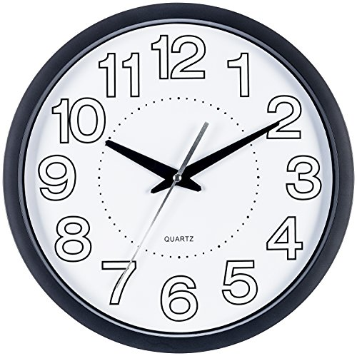 Bernhard Products Black Wall Clock, Silent Non Ticking - 10 Inch Quality Quartz Battery Operated Round Easy to Read Home/Office/School Clock (12 Inch.)