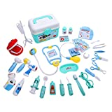 Shinehalo Medical Carrycase, Doctor Playsets for Children 36 PCS, Roles Play Doctor Dentist Nurse, Doctor Pretend Play Toys with Sound and Light Effects (Blue)