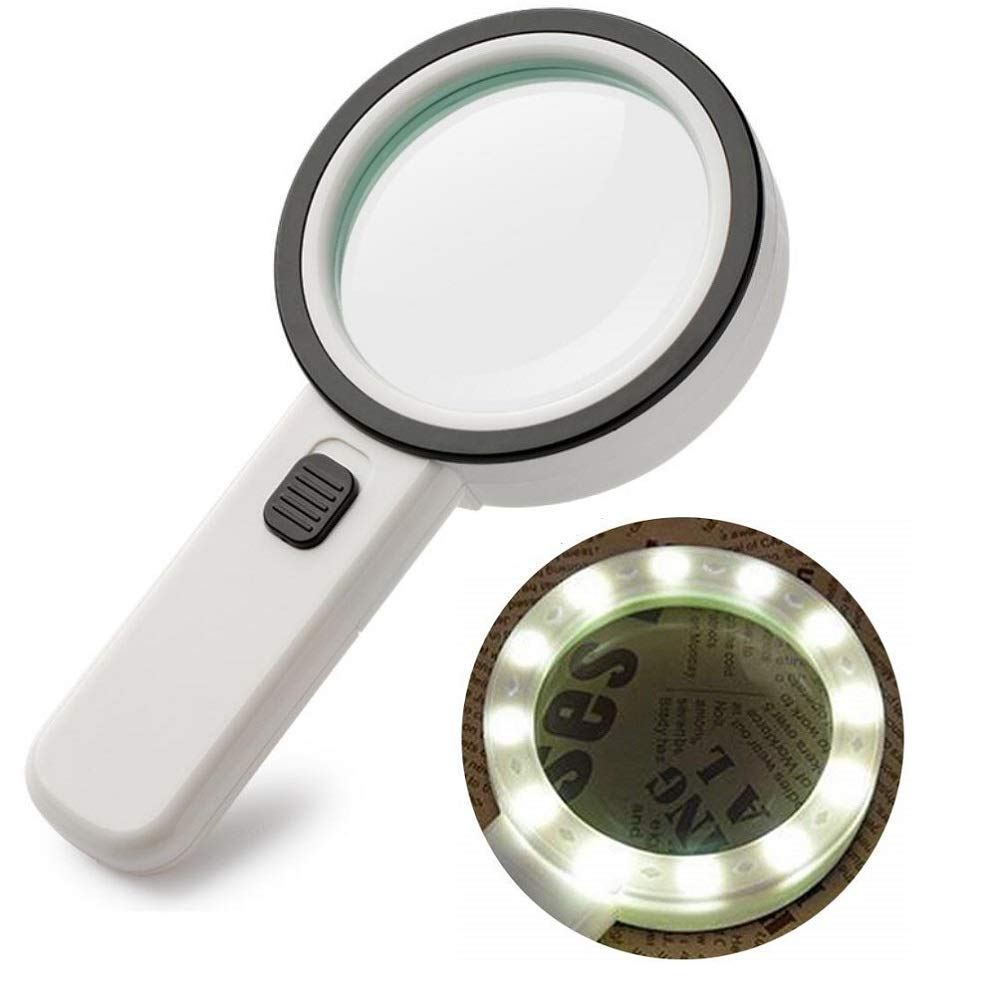 30X Magnifying Glass with LED Light - High Power Handheld Lighted Magnifier with Large Double Glass Lens Led Magnifiers for Seniors Reading,Coins, Stamps, Map,Jewelry, Inspection, Macular Degeneration by Mity Rain (Image #1)