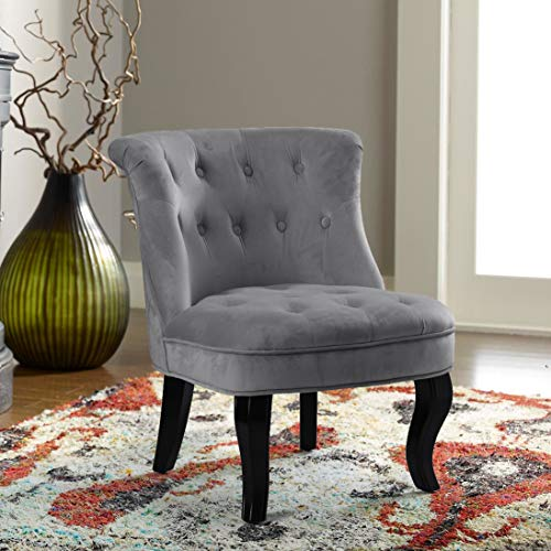 Grey Upholstered Chair | Jane Tufted Velvet Armless Accent Chair with Black Birch Wood Legs – Light Gray
