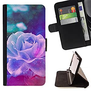 For Sony Xperia M5 Violet Rose Vintage Vignette Flower Style PU Leather Case Wallet Flip Stand Flap Closure Cover