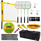 GSE Games & Sports Expert Professional Portable Badminton Volleyball Combo Set. Including Volleyball/Badminton Net System and Accessories