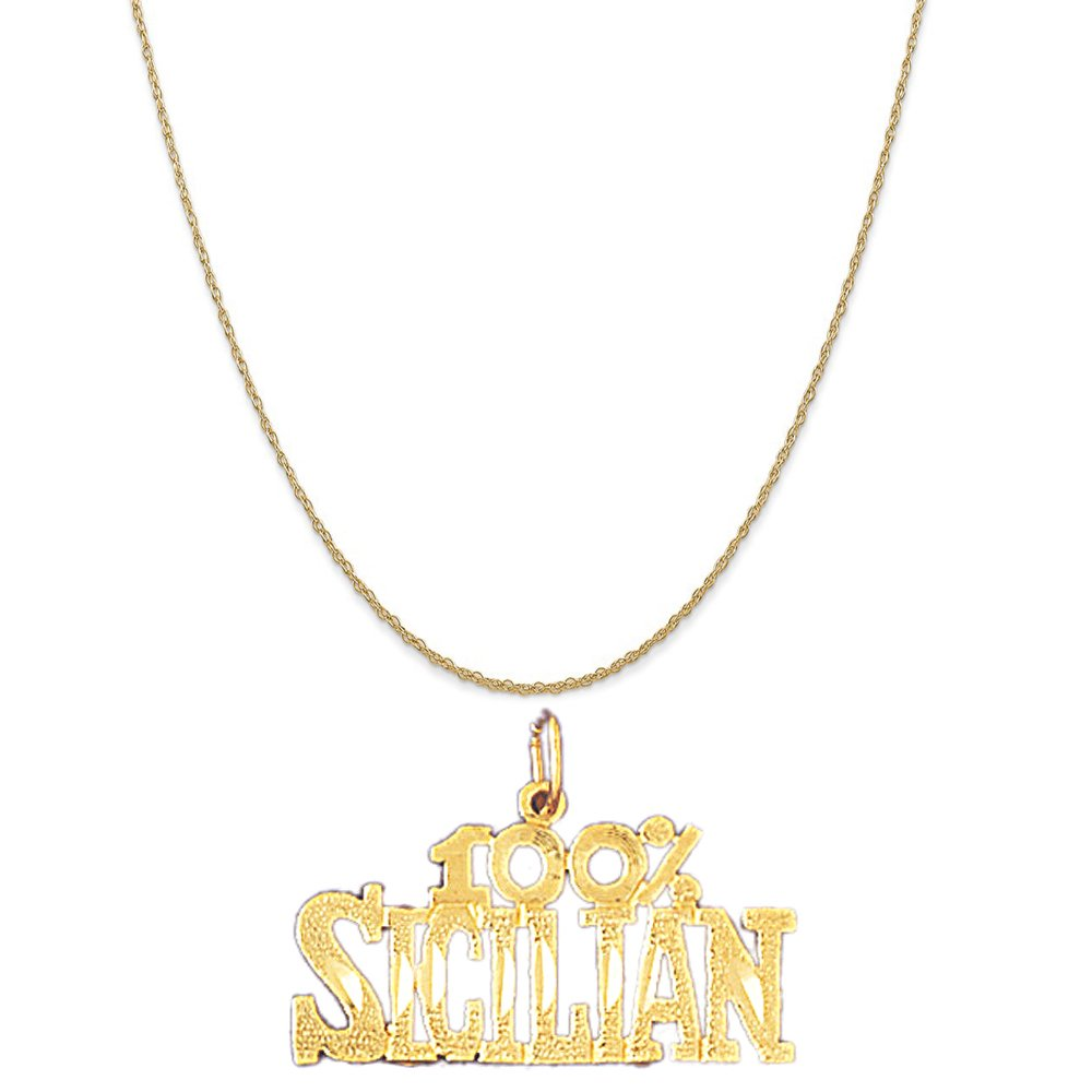 Box or Curb Chain Necklace 14k Yellow Gold 100/% Sicilian Pendant on a 14K Yellow Gold Rope