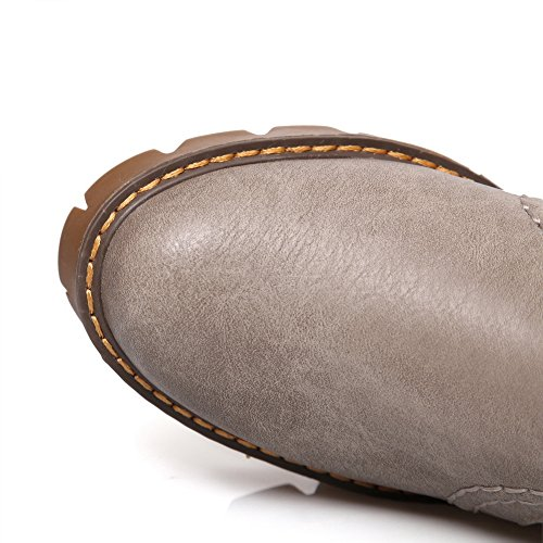 BalaMasa Ladies Slip-On Kitten-Heels Solid Microfiber Pumps-Shoes Gray a47SiTM
