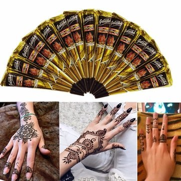 Black Henna Paste - Temporary Tattoos - 3pcs Black NaturalHenna Cone Temporary Tattoo Body Art Tattoos Hair Loss -Paste Cones Packing Machine Brown Cone
