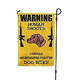 Human Shoots GERMAN SHORTHAIRED POINTER DOG Bites Yard Patio House Garden Flag & Garden Pole 10 1/2'' x 16''