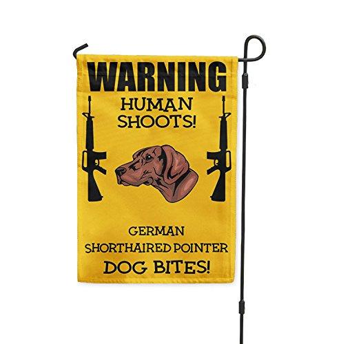 Human Shoots GERMAN SHORTHAIRED POINTER DOG Bites Yard Patio House Garden Flag & Garden Pole 10 1/2'' x 16'' by Fastasticdeals (Image #2)'