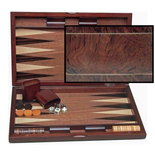 WE Games Wood Inlay Backgammon Set in Beachwood- Tournament (Inlay Backgammon Wood)
