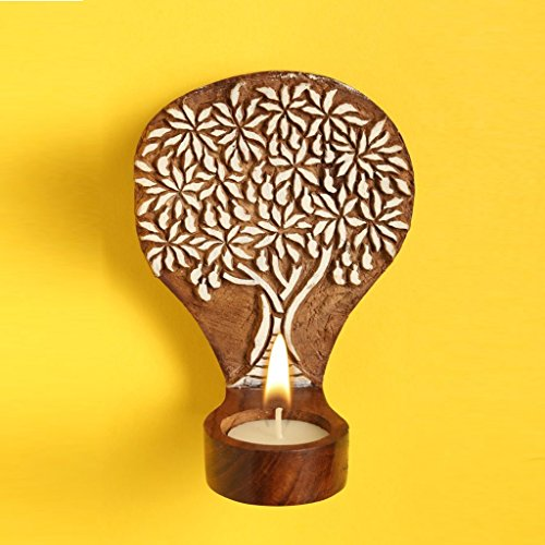 Standard Wood Sconce (Hashcart Handmade Tea Light Candle Holder/Wooden Candle Light Holder Set/Designer Votive Candle Holder Stand/Wall & Table Decorative Candle Holders for Home Living Room & Office)