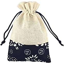 SumDirect 4 X 6 Inch Burlap Bags,Round Drawstring Pouch, 20 Piece (Cotton Ethnic Style)