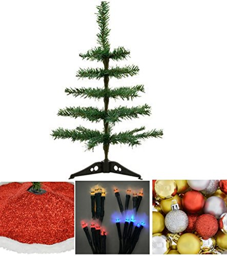 Count Cutie Toddler Costumes - Desktop Work Office Table-Top Artificial Christmas Trees, 18 in. House 10-Bulb LED Battery-Powered Light Sets COLOR MAY VARY, Red Glitter Tree Skirt BONUS 16 Count Pack of Ornaments Bulbs
