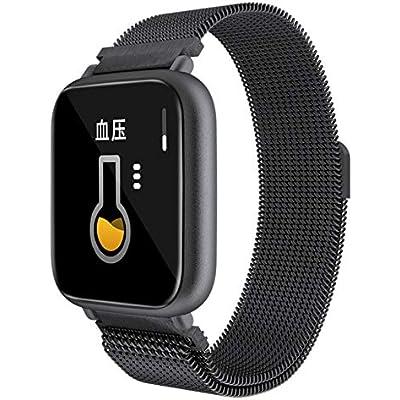 LMFColor screen smart bracelet Heart rate blood pressure monitoring information push smart reminder Bluetooth sports bracelet black steel