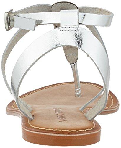 Vero Moda Vmanneli Leather Sandal, de Tiras para Mujer Gris (Silver)