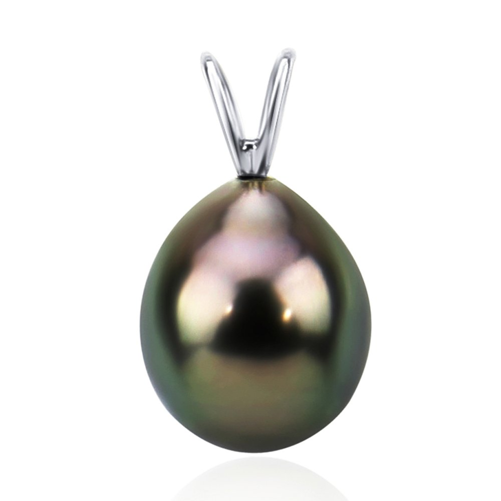 14K Gold 10-11mm AAA Quality Black Tahitian Cultured Pearl Pendant, Pendant Only (white-gold)
