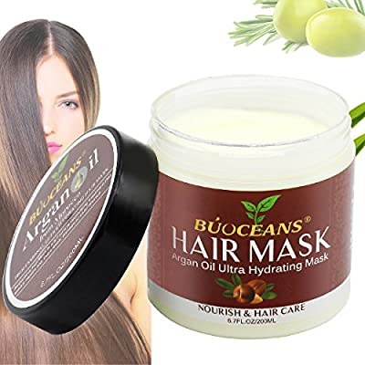 Argan Oil Hair Mask, 100% ORGANIC Argan & Almond Oils - Deep Conditioner Hair Treatment Therapy, Repair Dry, Damaged, Color Treated & Bleached Hair - Hydrates & Stimulates Hair Growth, 8.5 Oz