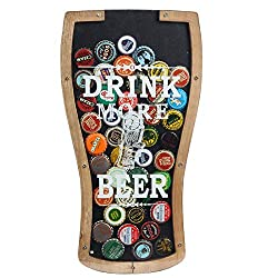 Lily's Home Beer Caps Holder Shadow Box, Makes The Ideal Gift for The Happy and Hydrated Beer Lover, Wood and Glass. Wall Mount