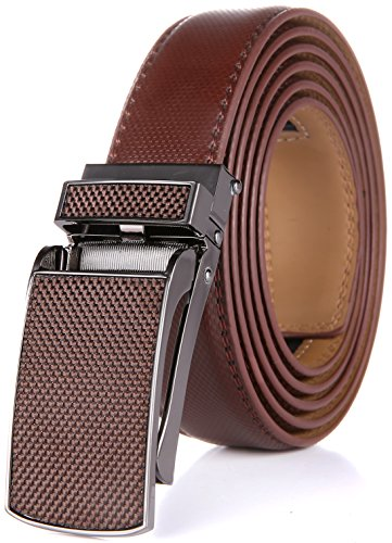 Marino Men's Genuine Leather Ratchet Dress Belt with Linxx Buckle, Enclosed in an Elegant Gift Box - Moch Brown Design Buckle with Tan Leather - Custom: Up to 44