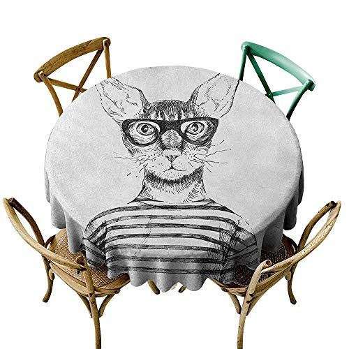 small round tablecloth 39 inch Cat,Hand Drawn Dressed Up Hipster New Age Cat Fashion Urban Free Spirit Artwork Print, Black White Dust-Proof Table Cover for Kitchen Dinning Tabletop Decoration
