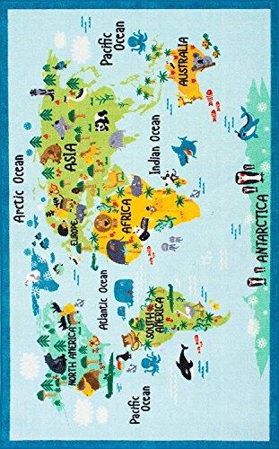 nuLOOM Animal World Map Kids Alfombra, 3 pies 3 Pulgadas x 5 pies, Azul beb