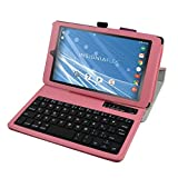 "Insignia NS-P08A7100 Bluetooth Keyboard Case,Mama Mouth Slim Stand PU Leather Case Cover With Romovable Bluetooth Keyboard For 8"" Insignia Flex NS-P08A7100 Andriod 6.0 Tablet 2016,Pink"