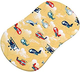 product image for SheetWorld Fitted 100% Cotton Percale Bassinet Sheet Fits Halo Bassinet Swivel Sleeper 17 x 30, Airplanes Yellow, Made in USA