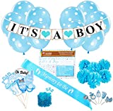 Baby Shower Party Decorations Kit: It's A Boy Blue Theme Welcome Supplies for Babies & Newborns With Confetti, Pennant Banner, Mommy To Be Sash, 6 Tissue Balls, 8 Photo Props & 10 Polka Dot Balloons