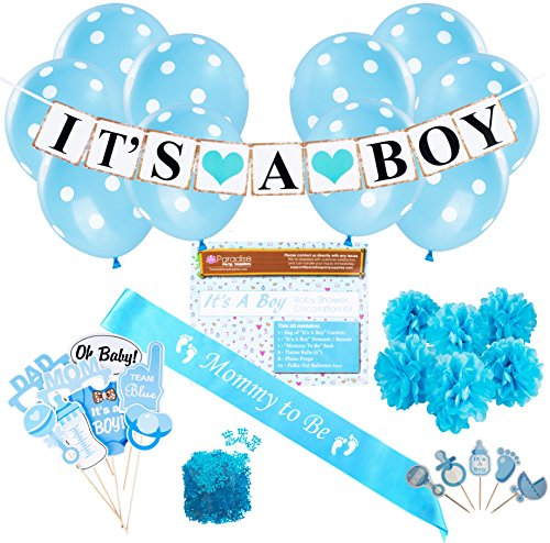 Baby Shower Party Decorations Kit: It's A Boy Blue Theme Welcome Supplies for Babies & Newborns With Confetti, Pennant Banner, Mommy To Be Sash, 6 Tissue Balls, 8 Photo Props & 10 Polka Dot Balloons (Baby Shower Decoration Ideas For A Boy)