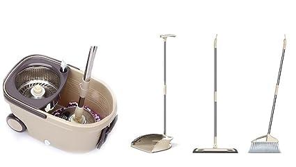 Zk&Lsa Juego De Trapeador Y Cubo Easy Wring and Clean Turbo,Broom+Mop(