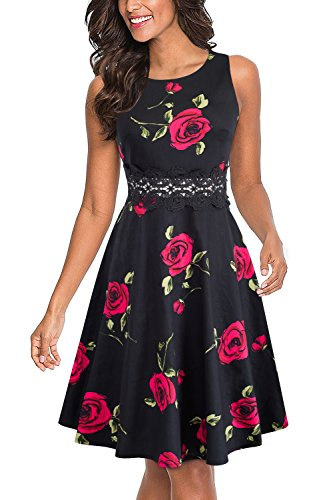 HOMEYEE Women's Sleeveless Cocktail A-Line Embroidery Party Summer Dress A079 (12, Black + Red Flower) -