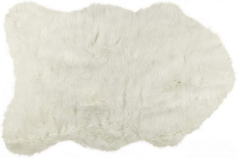 Luxe Faux Fur Luxury Soft Premium Quality Thick & Lush Fade Resistant Shed Free 100% Animal-Free Gordon Faux Sheepskin Area Rug, 2 ft x 3 ft, White