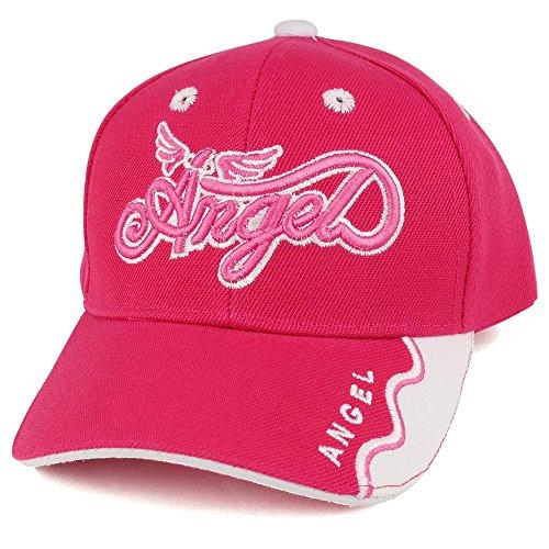 Trendy Apparel Shop Infant Size Angel 3D Embroidered Adjustable Baseball Cap - Hot Pink Pink Angel Hat