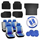 ECCPP Gray/Blue Car Seat Covers W/Steering Wheel Cover 5Pcs Car Floor Mats W/Trunk Liner Breathable fit Heavy Duty Vans Trucks(17pcs)