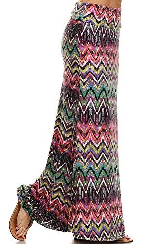 Bright Chevron Striped Full Length High Waist Maxi Skirt - L/XL