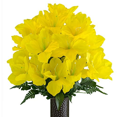 - Yellow Amaryllis, Artificial Bouquet, featuring the Stay-In-The-Vase Design(c) Flower Holder (MD2083)