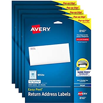 avery address labels with sure feed for inkjet printers 05 x 175 10000 labels permanent adhesive 5 pack 8167