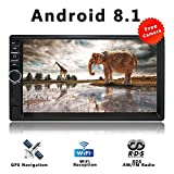 Android 8.1 Universal Double Din Car Stereo with GPS Navigation System 7 inch Capacitive Touch Screen Bluetooth MirrorLink AM/FM RDS WiFi/USB/TF/AUX Car Radio Video with Backup Camera