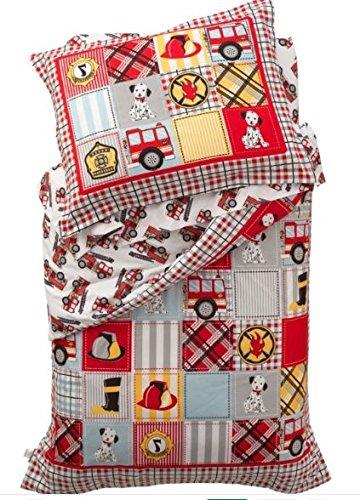 4 Piece Fire Fighter Crib Bedding Set for Boys, Adorable Cute Firetrucks (Adorable 4 Piece)