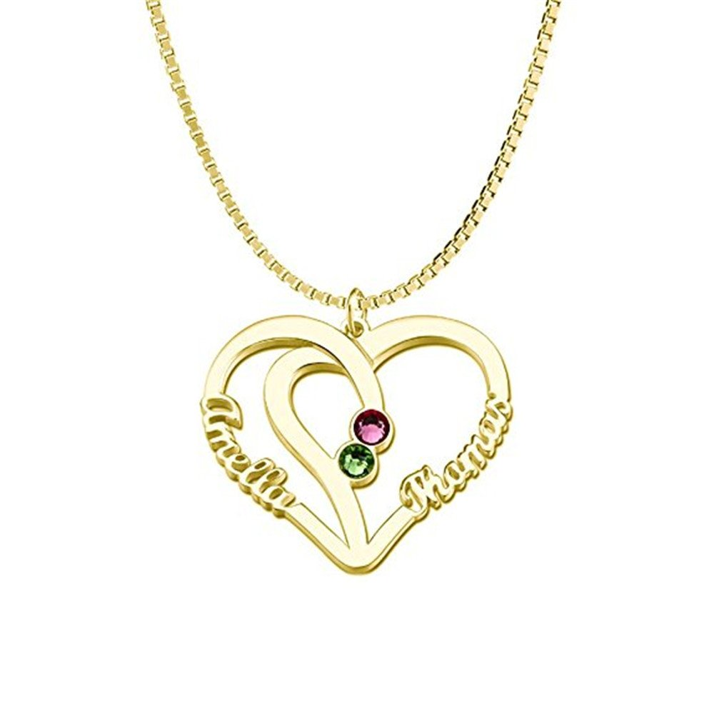 Personalized Name Necklace Custom Couples Name Necklace Pendant With Birthstones