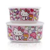 themos cooler - Finex Set of 2 - Pink Hello Kitty Bowl Set with Lids Kids Dinner Meal Dishes Feeding set for toddlers Microwave Dishwasher safe