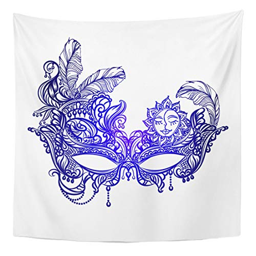 Semtomn Tapestry Wall Hanging Home Art Face Masks in The of Boho Chic Festival Mardi 60