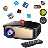 Projector DIWUER Wireless WiFi Projector (2018 Upgraded) Portable Video LED Projector Full HD 1080P Home Theater Projector Compatible with HDMI USB VGA AV Input for iPhone PC Laptop