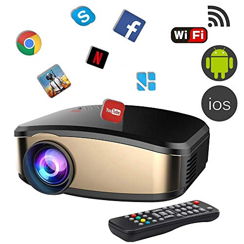 Projector DIWUER Wireless WiFi Projector (2018 Upgraded) Portable Video LED Projector Full HD 1080P Home Theater Projector Compatible with HDMI USB VGA AV Input for iPhone PC Laptop by DIWUER
