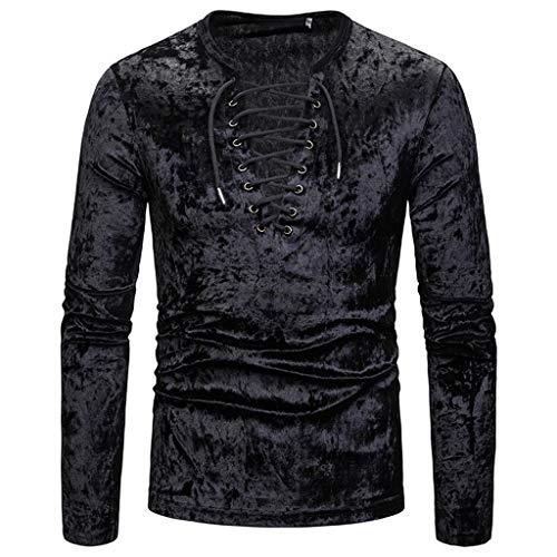Fashion Personality Tootu Men's Casual Senior Lapel Diamond Velvet T Shirt Top Blouse Black
