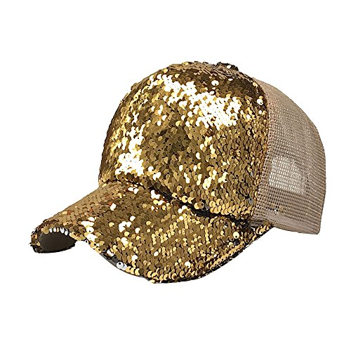 ZOMUSAR Women Ponytail Sport Messy Bun Ponytail Reversible Magic Sequin Adjustable Baseball Cap (Gold)