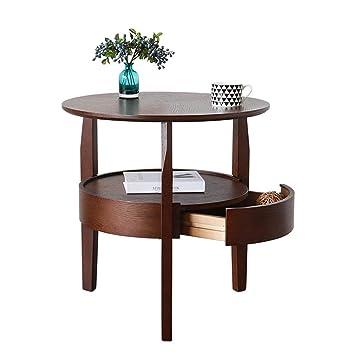 Table Basse Ronde Simple En Chêne Avec Tiroirs Table De