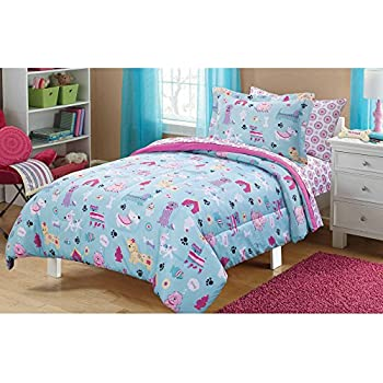 7 Piece Girls Pastel Blue Fun Dog Pooches Comforter Full Set, Hot Pink  Dachshund Poodle
